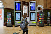 Commuters walk past the bus timetable inside Nottingham Train Station on Station Street, Nottingham, Nottinghamshire, United Kingdom.  photo by Andrew Aitchison / In pictures via Getty Images