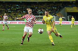 October 9, 2017 - Kiev, Ukraine - Andriy Yarmolenko (R),  of Ukraine in action against Croatian Domagoj Vida (L) during the FIFA 2018 World Cup Group I Qualifier between Ukraine and Croatia at Kiev Olympic Stadium on October 9, 2017 in Kiev, Ukraine. Ukraine fail to reach the play-offs as they lose 2-0. (Credit Image: © Sergii Kharchenko/NurPhoto via ZUMA Press)