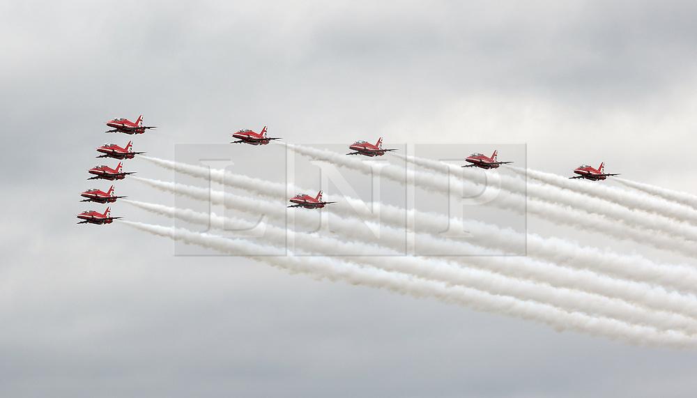 RAF Red Arrows, Farnborough International Airshow, London Farnborough Airport UK, 15 July 2016, Photo by Richard Goldschmidt