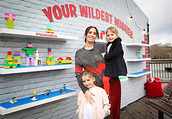 EDITORIAL USE ONLY Stacey Solomon with her nieces Mila Brent (3, right) and Darcy Brent (5) at the LEGO Imaginarium, which is open for this weekend only on London's Southbank.