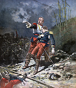 In the Face of the Enemy':  Evening of battle in hopfields in Alsace, French Curassier officer supporting  wounded Dragoon officer. Illustration of Franco-Prussian War after Beauquesne. 'Le Petit Journal', Paris, 6 December 1890.