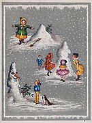 Children mking a snowman. Illustration c1890.