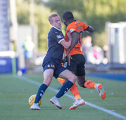 Falkirk's Zak Rubben and Dundee United's Yannick Loemba. Falkirk 0 v 2 Dundee United, Scottish Championship game played 22/9/2018 at The Falkirk Stadium.