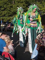 Stilt walkers at Big Wheel event at Nottingham Castle.