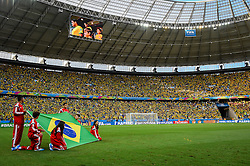Bandeira do Brasil na partida entre Brasil x Colombia, válida pelas quartas de final da Copa do Mundo 2014, no Estádio Castelão, em Fortaleza-CE. FOTO: Jefferson Bernardes/ Agência Preview