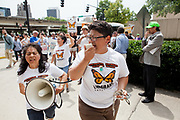 BIRMINGHAM, AL –SEPTEMBER 16, 2012: Isela Meraz, 29, leads a group of undocumented Hispanics in protest against anti-immigration laws such as HB-56 during a briefing on the civil rights effects of state immigration law held by the U.S. Commission on Civil Rights. Meraz oved to Phoenix, Arizona with her family from Durango, Mexico when she was eight years old and has lived in the United States ever since.