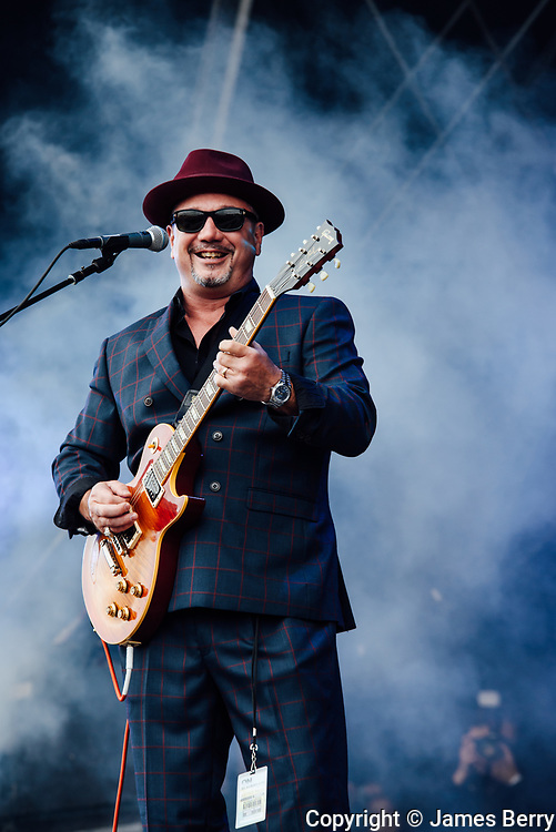 Fun Lovin' Criminals perform on the main stage at the On Blackheath festival, London, on Sunday 10 September 2017. Picture shows Huey Morgan.<br />