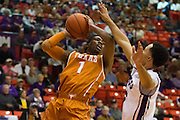 FORT WORTH, TX - JANUARY 19: Isaiah Taylor #1 of the Texas Longhorns drives to the basket against the TCU Horned Frogs on January 19, 2015 at Wilkerson-Greines AC in Fort Worth, Texas.  (Photo by Cooper Neill/Getty Images) *** Local Caption *** Isaiah Taylor