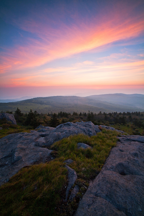 Spring sunrise over First, Second and Third Peak, Little Wilson Creek Wilderness