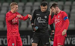 Jonas Henriksen, Kevin Stuhr Ellegaard og Nikolaj Hansen (FC Helsingør) under kampen i 1. Division mellem Viborg FF og FC Helsingør den 30. oktober 2020 på Energi Viborg Arena (Foto: Claus Birch).