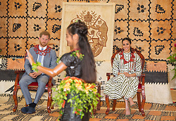 The Duke and Duchess of Sussex attend an exhibition of Tongan handicrafts at the Fa'onelua Convention Centre, in Nuku'Alofa, Tonga, on day two of the royal couple's visit to Tonga.
