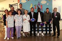 Getafe CF's coach Jose Bordalas, Filip Manojlovic, President Angel Torres, Amath Ndiaye and Francisco Portillo during the Christmas visit to the Children's Hospital of the city. December 12,2017. (ALTERPHOTOS/Acero)