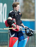 ROTTERDAM -    Goalie Toby Bruce (Eng) .    Practice Match  Hockey : Netherlands Boys U16  v England U16 . COPYRIGHT KOEN SUYK