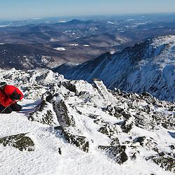 Mount Washington EduTrip participant taking photos on Mount Washington in March, 2011. New Hampahire's White Mountains.