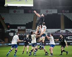 Ospreys' Will Jones claims the lineout<br /> <br /> Photographer Simon King/Replay Images<br /> <br /> Anglo-Welsh Cup Round 4 - Ospreys v Bath Rugby - Friday 2nd February 2018 - Liberty Stadium - Swansea<br /> <br /> World Copyright © Replay Images . All rights reserved. info@replayimages.co.uk - http://replayimages.co.uk