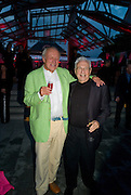 LORD RICHARD ROGERS; FRANK GEHRY, The Summer Party. Hosted by the Serpentine Gallery and CCC Moscow. Serpentine Gallery Pavilion designed by Frank Gehry. Kensington Gdns. London. 9 September 2008.  *** Local Caption *** -DO NOT ARCHIVE-© Copyright Photograph by Dafydd Jones. 248 Clapham Rd. London SW9 0PZ. Tel 0207 820 0771. www.dafjones.com.