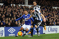 Aaron Lennon of Everton (l) looks to go past Paul Dummett of Newcastle United. Barclays Premier League match, Everton v Newcastle United at Goodison Park in Liverpool on Wednesday 3rd February 2016.<br /> pic by Chris Stading, Andrew Orchard sports photography.