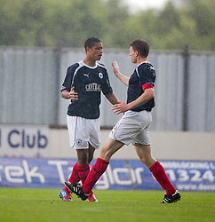 Falkirk's Lyle Taylor celebrates after scoring their third goal with Falkirk's Darren Dods..Falkirk 3 v 0 Stirling Albion, Ramsdens Cup..© Michael Schofield.