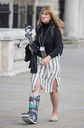 © Licensed to London News Pictures. 01/09/2021. London, UK. Former Downing Street Press Secretary ALLEGRA STRATTON is seen wearing a foot brace and carrying crutches as she arrives at the Cabinet Office on Whitehall. Photo credit: Ben Cawthra/LNP