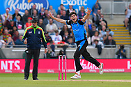 Wicket - Pat Brown of Worchestershire celebrates taking the wicket of Jordan Clark of Lancashire during the Vitality T20 Finals Day Semi Final 2018 match between Worcestershire Rapids and Lancashire Lightning at Edgbaston, Birmingham, United Kingdom on 15 September 2018.