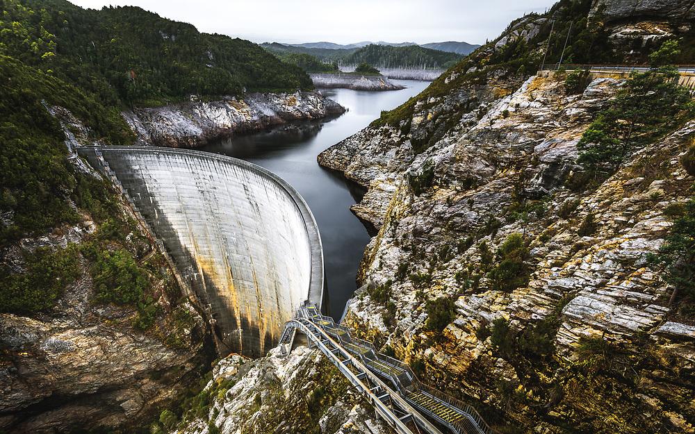 198m long and 140m high Gordon Dam in Southwest Tasmania
