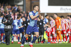March 9, 2019 - High Wycombe, Buckinghamshire, United Kingdom - Wycombe's Matt Bloomfield applauds the crown on his 500th Wycombe appearance before the Sky Bet League 1 match between Wycombe Wanderers and Sunderland at Adams Park, High Wycombe, England  on Saturday 9th March 2019. (Credit Image: © Mi News/NurPhoto via ZUMA Press)