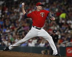 September 12, 2017 - Minneapolis, MN, USA - The Minnesota Twins' Kyle Gibson pitched six shutout innings against the San Diego Padres at Target Field in Minneapolis on Tuesday, Sept. 12, 2017. The Twins won, 16-0. (Credit Image: © Richard Tsong-Taatarii/TNS via ZUMA Wire)