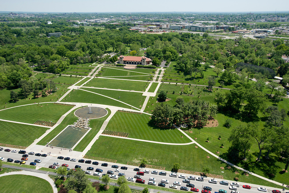 Aerial view of the Worlds Fair Pavilion in Forest Park in St. Louis, Missouri on May 18, 2014.