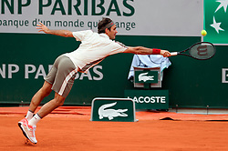 May 29, 2019: Paris, France: Third seeded ROGER FEDERER of Switzerland plays against Oscar Otte of Germany during their second round match of the French Tennis Open at Roland Garros. Federer won 6-4, 6-3, 6-4. (Credit Image: © Judith White/ZUMA Wire)