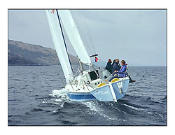 The Clyde Cruising Club's 1977 Tomatin Trophy the first Scottish Series held at Tarbert Loch Fyne.  An overnight race from Gourock to Campbeltown then on to Olympic Triangles in Loch Fyne. ..K5550 Hydro Djinn Nick Stratton the overall Winner of the 1977 series..