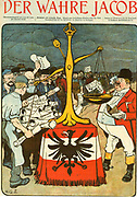 Who weighs more?'. Cartoon on the Prussian three class franchise system (Dreiklassenwahlrecht) introduced in 1849 for election to the Lower House of the Prussian state parliament.  Men over 24 were eligible to vote and were divided into three classes acco