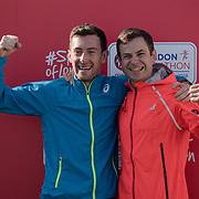 Matt and David at London Marathon 2018 on 22 April 2018, Blackhealth, London, UK.