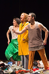 "© Licensed to London News Pictures. 8 April 2014. London, England. L-R: Berengere Bodin, Elsie de Brauw and Ross McCormack. Photocall for the UK premiere of Alain Platel's ""tauberbach"" performed by les ballet C de la B at Sadler's Wells, London. The piece is performed by dancers/actors Berengere Bodin, Elie Tass, Elsie de Brauw, Lisi Estaras, Remeu Runa and Ross McCormack. At Sadler's Wells on 8 and 9 April 2014. Photo credit: Bettina Strenske/LNP"