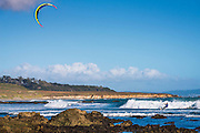 Kite surfing at San Simeon, California USA