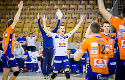 Ales Fabjan of ACH and other players of ACH celebrate during volleyball game between OK ACH Volley and OK Panvita Pomgrad in 1st final match of Slovenian National Championship 2013/14, on April 6, 2014 in Arena Tivoli, Ljubljana, Slovenia. Photo by Vid Ponikvar / Sportida