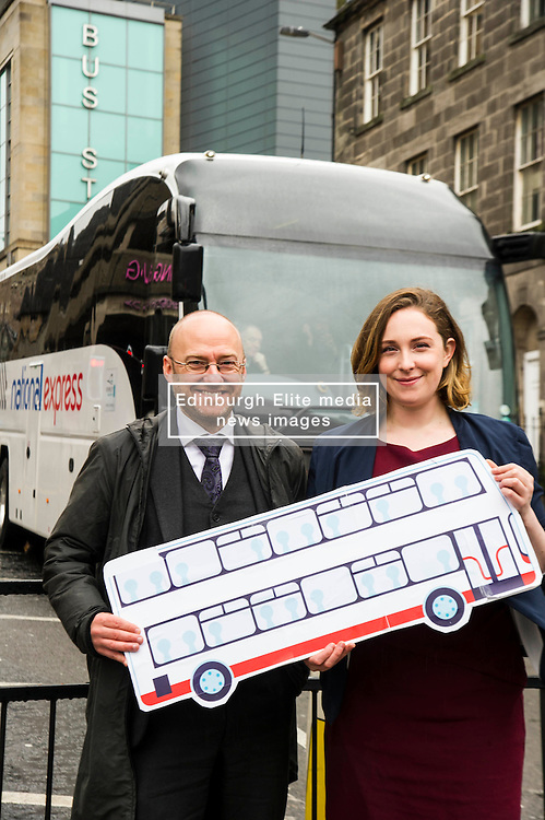 Pictured: Patrick Harvie and Sarah Beattie-Smith<br /> <br /> Scottish Green Party co-convener Patrick Harvie and Scottish Greens infrastructure and transport spokeswoman Sarah Beattie-Smith met bus travellers at a busy intersection in Edinburgh as part of the party's Better Bus campaign <br /> Ger Harley   EEm 5 April 2016