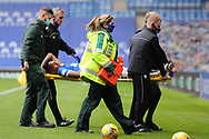 Alfredo Morelos (Rangers) suffers a bad injury and is stretchered off during the Scottish Premiership match between Rangers and Dundee United at Ibrox, Glasgow, Scotland on 12 September 2020.