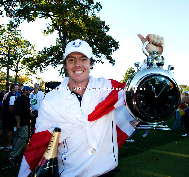 Rory MCILROY (EUR) see's the funny side of nearly missing his tee time during final day Singles,Ryder Cup Matches,Medinah CC,<br /> Medinah,Illinois,USA.