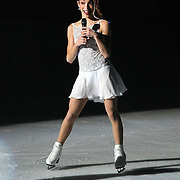 Olympic Gold medalist speaks to the crowd during the Stars on Ice Figure Skating tour stop at the Amway Center on Sunday, April 6, 2014 in Orlando, Florida. (AP Photo/Alex Menendez)
