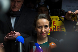 """© Licensed to London News Pictures. 04/01/2021. LONDON, UK. Stella Moris, Julian Assange's partner, speaks to the media outside the Old Bailey Central Criminal Court after a judge ruled that Julian Assange, Wikileaks founder, will not be extradited.  Mr Assange has been charged by the United States' Espionage Act of """"disclosing classified documents related to the national defence"""".  Photo credit: Stephen Chung/LNP"""