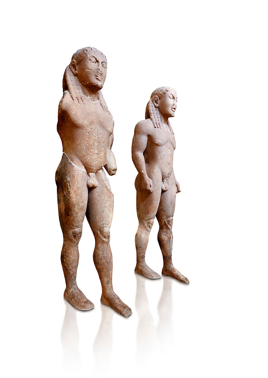 Archaic Ancient Greek marble statue of 2 Kouros Known as the Twins of Argos sculpted in Argos circa 580 BC, Delphi National Archaeological Museum.  Against white.
