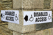 Temporary disabled access signs outside a polling station in Wadebridge, North Cornwall, United Kingdom.