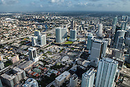 Aerial view showing west downtown Miami and the Brickell district and Brickell City Centre