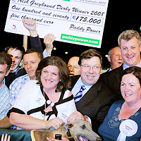 13 September 2008; An Taoiseach Brian Cowen, T.D with Bridget Curtin, sister of winning trainer Pat Curtin, after Shelbourne Aston had won the Paddy Power Irish Greyhound Derby. Paddy Power Irish Greyhound Derby, Shelbourne Park, Ringsend, Dublin. Picture credit; Damien Eagers / SPORTSFILE