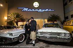 Jeff Holt and Natalie at the Monday night afterparty at Mooneyes Area One after the Mooneyes Yokohama Hot Rod & Custom Show. Yokohama, Japan. December 5, 2016.  Photography ©2016 Michael Lichter.