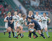 Twickenham, Surrey. UK. Cambridge No. 7, Chloe  WITHERS, moving in to tackle Oxfords, Pat METCALFE-JONES. during the 2017 Women's Varsity Rugby Match, Oxford vs Cambridge Universities. RFU Stadium, Twickenham. Surrey, England.<br /> <br /> Thursday  07.12.17  <br /> <br /> [Mandatory Credit Peter SPURRIER/Intersport Images]