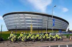 Glasgow, Scotland, UK. 21st October 2021. Final preparations underway at the site of the UN Climate Change Conference COP26 to be held in Glasgow from Oct 31st. Pic; Police motorcycles line up outside COP26 venue during a break from high speed practice escort practice.  Iain Masterton/Alamy Live News.