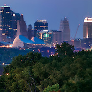 Panorama photo of downtown Kansas City, Missouri skyline, taken from Rosedale Arch in Kansas City, Kansas.