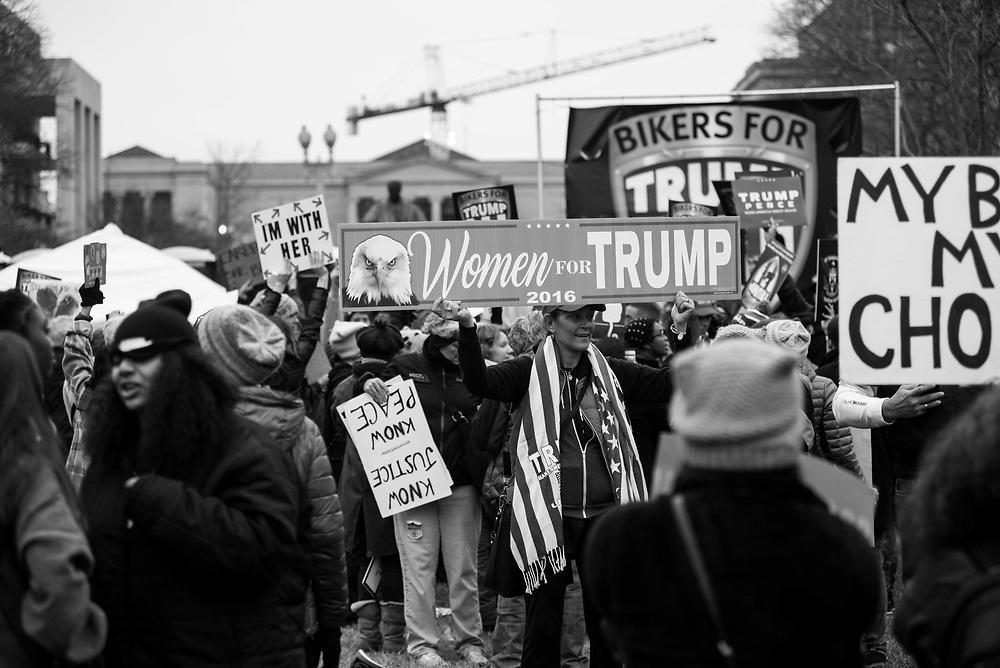 Women's March on Washington participants encounter Bikers for Trump