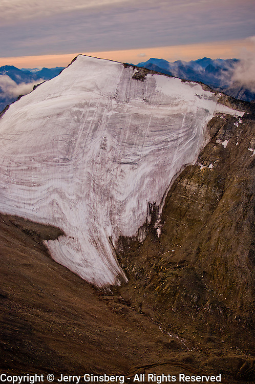 Hanging glaciers on Cockedhat Mountain in the Brooks Range, Gates of the Arctic National Park and Preserve, Alaska.